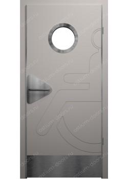 Дверь распашная остекленная для инвалидов (Hand 9)