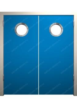 Дверь маятниковая остекленная двустворчатая (BalanceDUO2-2)