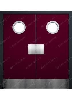 Дверь маятниковая остекленная двустворчатая (BalanceDUO2-13)