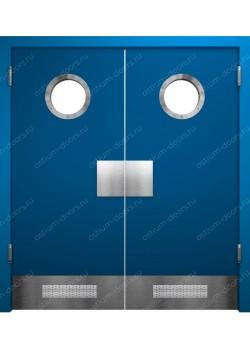 Дверь маятниковая остекленная двустворчатая (BalanceDUO2-17)