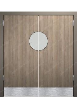 Дверь маятниковая остекленная двустворчатая (BalanceDUO2-18)